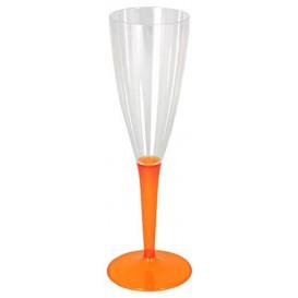 Sektflöte Plastik mit orangenem Fuß 100ml (72 Stück)