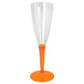 Sektflöte Plastik mit orangenem Fuß 100ml (6 Stück)