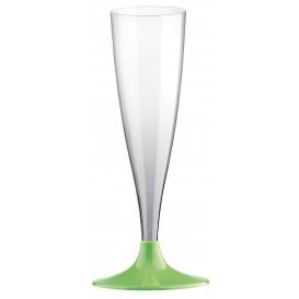 Sektflöte Plastik mit grasgrünem Fuß 140ml 2T (400 Stück)