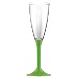 Sektflöte Plastik mit grasgrünem Fuß 120ml 2T (200 Stück)