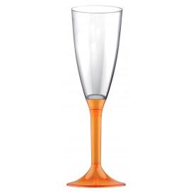 Sektflöte Plastik mit Orange Transp. Fuß 120ml (200 Stück)