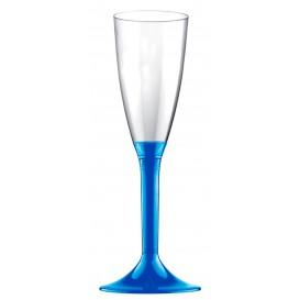 Sektflöte Plastik mit Blau Mittelmeer Fuß 120ml (200 Stück)