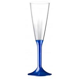 Sektflöte Plastik mit Blau Fuß 160ml (20 Stück)