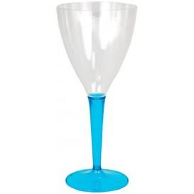 Weinglas mit türkisem Fuß 130ml zweiteilig (6 Stück)