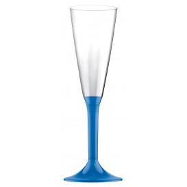 Sektflöte Plastik mit Blau Transp. Fuß 160ml (200 Stück)