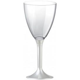 Glass aus Plastik für Wein Weiß Fuß 180ml (20 Stück)