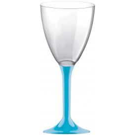 Glass aus Plastik für Wein Türkis Fuß 180ml (20 Stück)