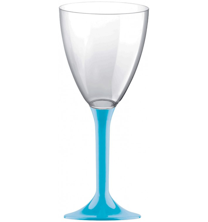 Glas aus Plastik für Wein türkiser Fuß 180ml 2T (20 Stück)