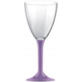 Glas aus Plastik für Wein fliederfarbener Fuß 180ml 2T (20 Stück)