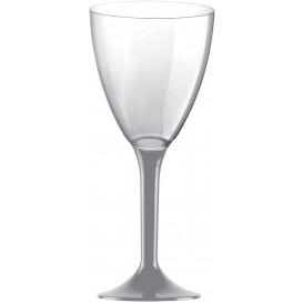 Glas aus Plastik für Wein grauer Fuß 180ml 2T (20 Stück)