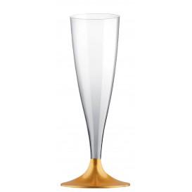 Sektflöte Plastik mit goldenem Fuß 140ml 2T (20 Stück)