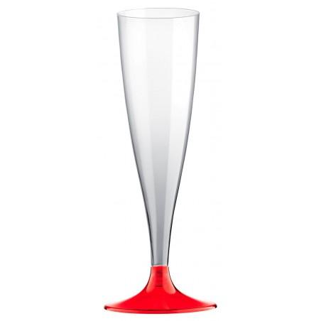 Sektflöte Plastik mit Rot Transp. Fuß 140ml (20 Stück)