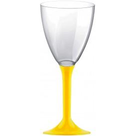 Glas aus Plastik für Wein gelber Fuß 180ml 2T (20 Stück)