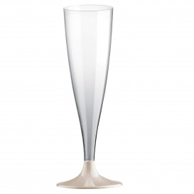 Sektflöte Plastik mit Beige Fuß 140ml (200 Stück)