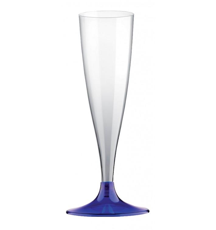 Sektflöte Plastik mit blauem Fuß 140ml 2T (20 Stück)