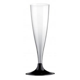 Sektflöte Plastik mit schwarzem Fuß 140ml 2T (20 Stück)