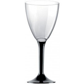 Glass aus Plastik für Wein Schwarz Fuß 180ml (20 Stück)
