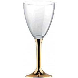 Glas aus Plastik für Wein goldener Chrom Fuß 180ml 2T (20 Stück)