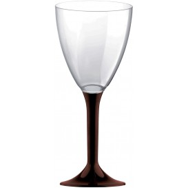 Glass aus Plastik für Wein Braun Fuß 180ml (20 Stück)
