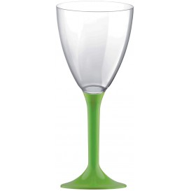 Glass aus Plastik für Wein Grasgrün Fuß 180ml (20 Stück)