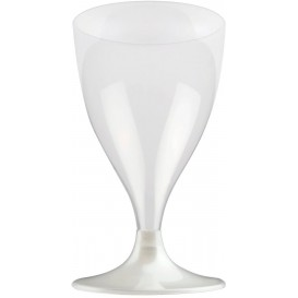 Glass aus Plastik für Wein Weiß Fuß 200ml (20 Stück)