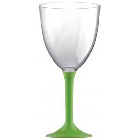 Glass aus Plastik für Wein Grasgrün Fuß 300ml (20 Stück)