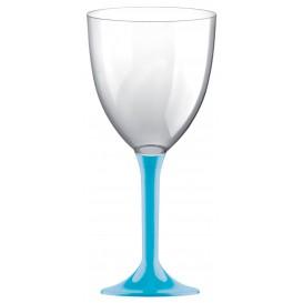Glass aus Plastik für Wein Türkis Fuß 300ml (20 Stück)