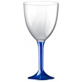 Glass aus Plastik für Wein Blau Fuß 300ml (20 Stück)