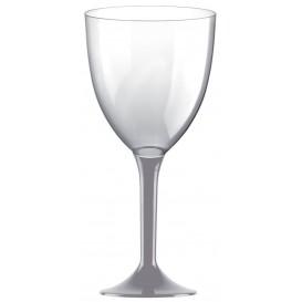 Glass aus Plastik für Wein Grau Fuß 300ml (20 Stück)