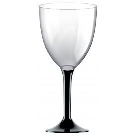 Glass aus Plastik für Wein Schwarz Fuß 300ml (20 Stück)