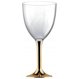 Glass aus Plastik für Wein Gold Chrom Fuß 300ml (20 Stück)