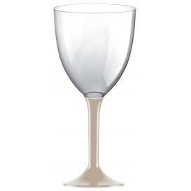 Glass aus Plastik für Wein Beige Fuß 300ml (20 Stück)