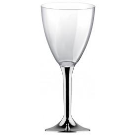 Glas aus Plastik für Wein Silber Chrom Fuß 180ml 2T (20 Stück)