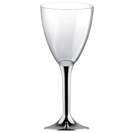 Glass aus Plastik für Wein Silber Chrom Fuß 300ml (200 Stück)