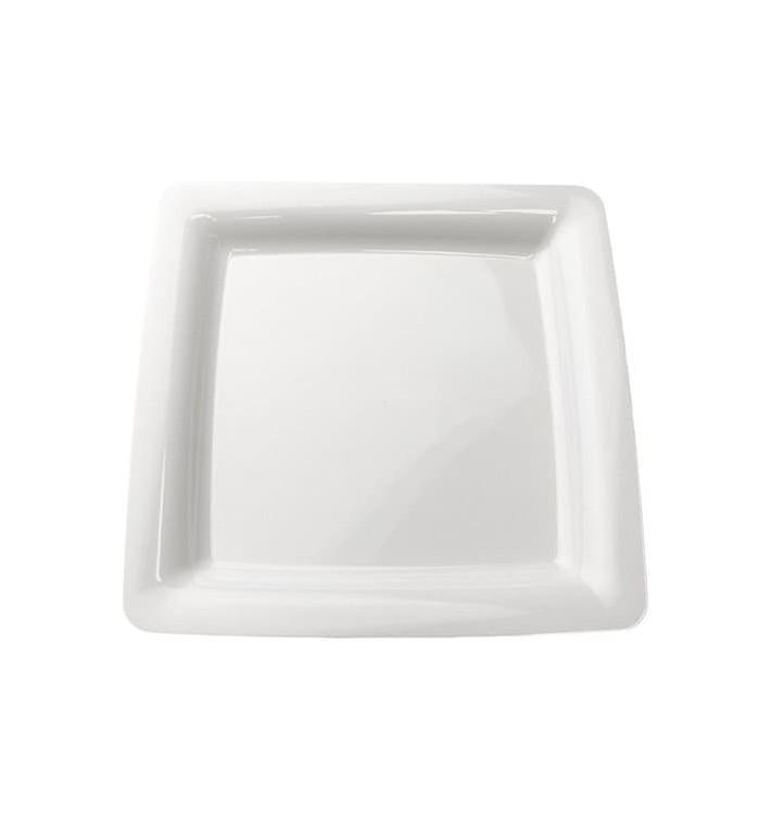 Viereckiger Plastikteller extra Stark weiß 22,5x22,5cm (200 Stück)