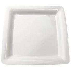 Viereckiger Plastikteller extra Stark weiß 22,5x22,5cm (20 Stück)