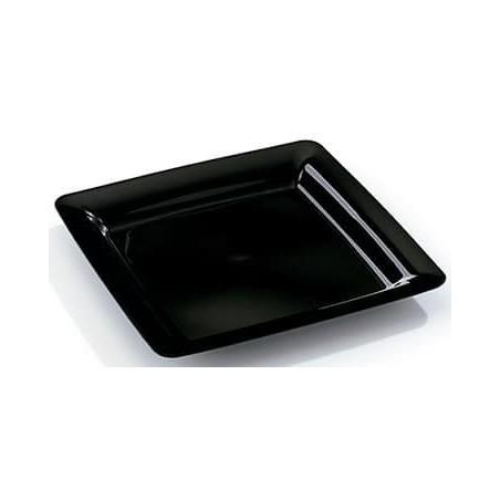 Viereckiger Plastikteller extra hart schwarz 18x18cm (20 Stück)