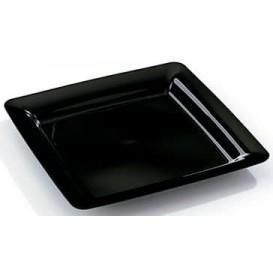 Viereckiger Plastikteller extra Stark schwarz 22,5x22,5cm (200 Stück)