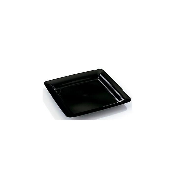 Viereckiger Plastikteller extra Stark schwarz 22,5x22,5cm (20 Stück)