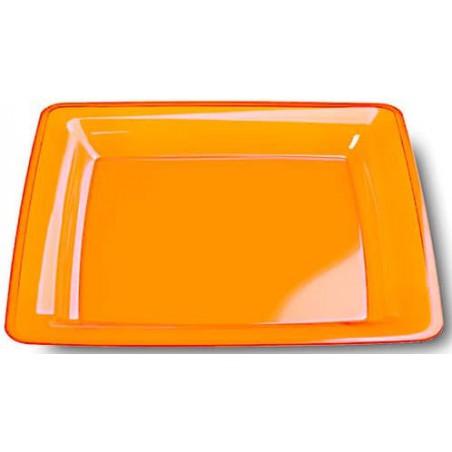 Viereckiger Plastikteller extra hart orange 22,5x22,5cm (72 Stück)