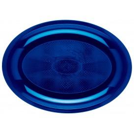Plastiktablett Oval Blau Round PP 315x220mm (25 Stück)
