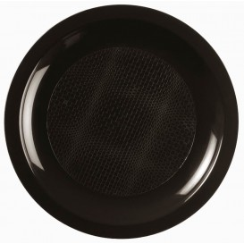 Plastikteller Flach Schwarz Round PP Ø185mm (300 Stück)