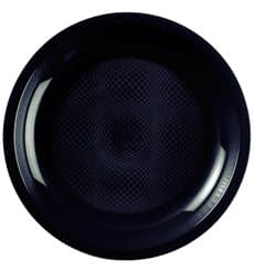 Plastikteller Flach Schwarz Round PP Ø220mm (600 Stück)