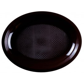 Plastiktablett Oval Schwarz Round PP 255x190mm (50 Stück)