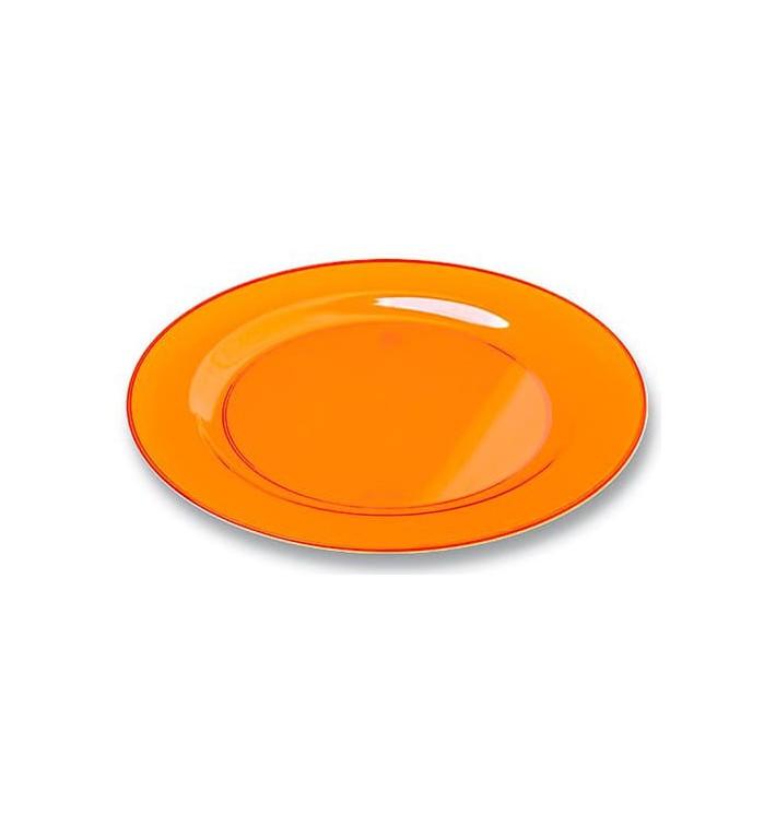 Plastikteller rund extra Stark Orange 23cm (6 Stück)