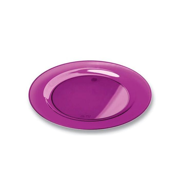 Plastikteller rund extra Stark Aubergine 19cm (120 Stück)