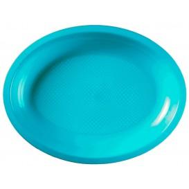 Plastiktablett Oval Türkis Round PP 315x220mm (25 Stück)