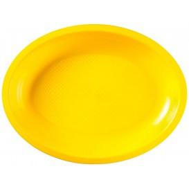 Plastiktablett Oval Gelb Round PP 255x190mm (50 Stück)