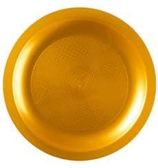 Plastikteller Flach Gold Round PP Ø185mm (600 Stück)