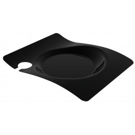 """Plastikteller """"Forma"""" mit Glashalter Schwarz 22x18 cm (12 Stück)"""